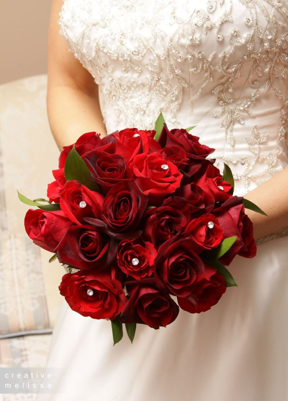 Red Bridemaid Bouquet And Throw Bouquet Red Rose Wedding Bouquet