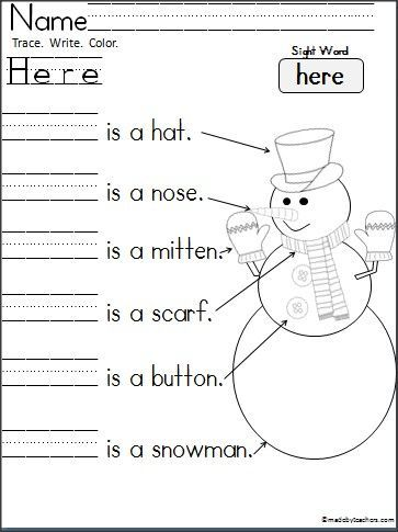 Free Kindergarten Snowman Writing To Practice Reading And Writing The Word Here