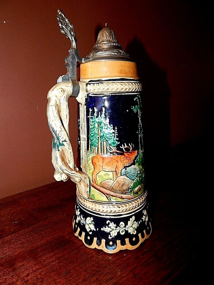 German made hunting theme beer (Musical Beer Stein) A true Antique. Near Perfect