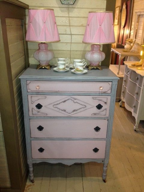 Annie Sloan Chalk Paint In Paris Grey And Antoinette Pink Lightly Distressed And Waxed W Distressed Furniture Diy Furniture Bedroom Cozy Living Room Furniture
