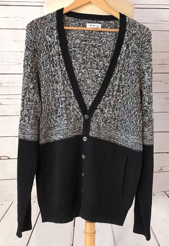 The Rail Mens Black Cable Knit Cardigan Sweater Size M Cotton Blend