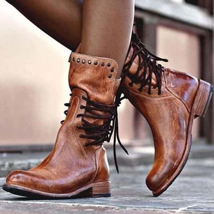 Plain Flat Round Toe Date Outdoor Mid Calf Flat Boots Lace Boots