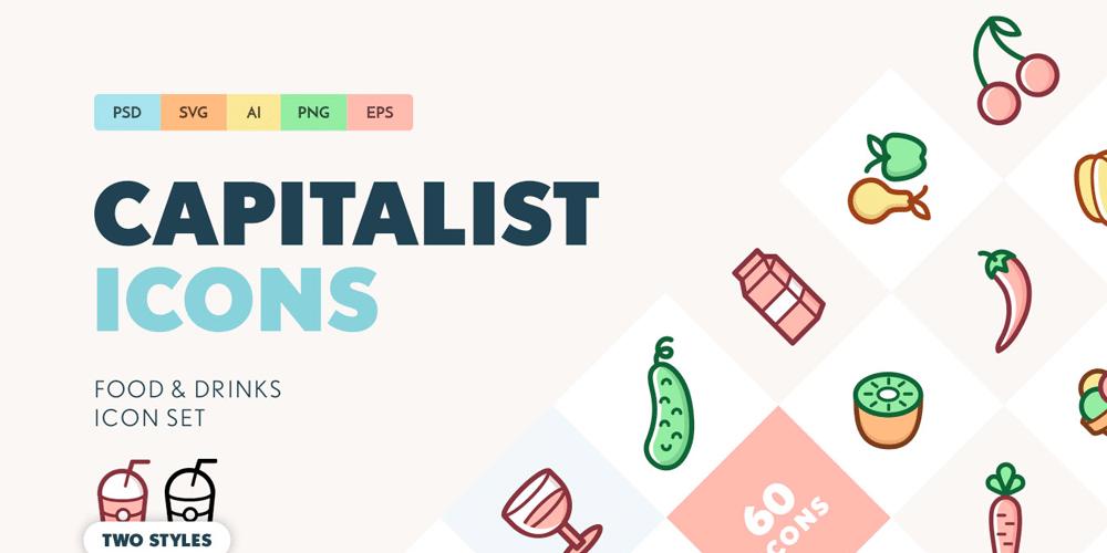 Capitalist Food and Drinks SVG Icon Set | Piirustus | Icon