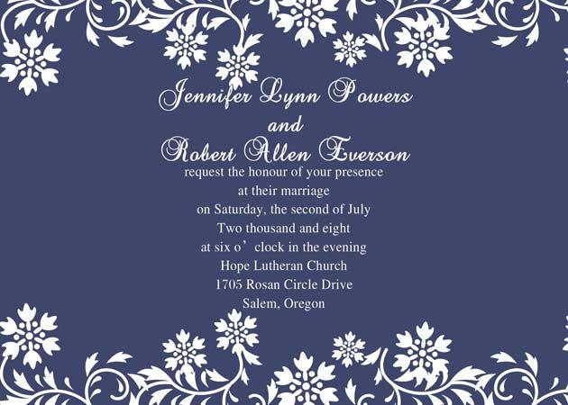navy blue background wedding invitation
