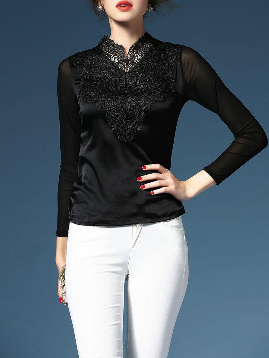 Adorewe stylewe long sleeved tops qili black embroidery long