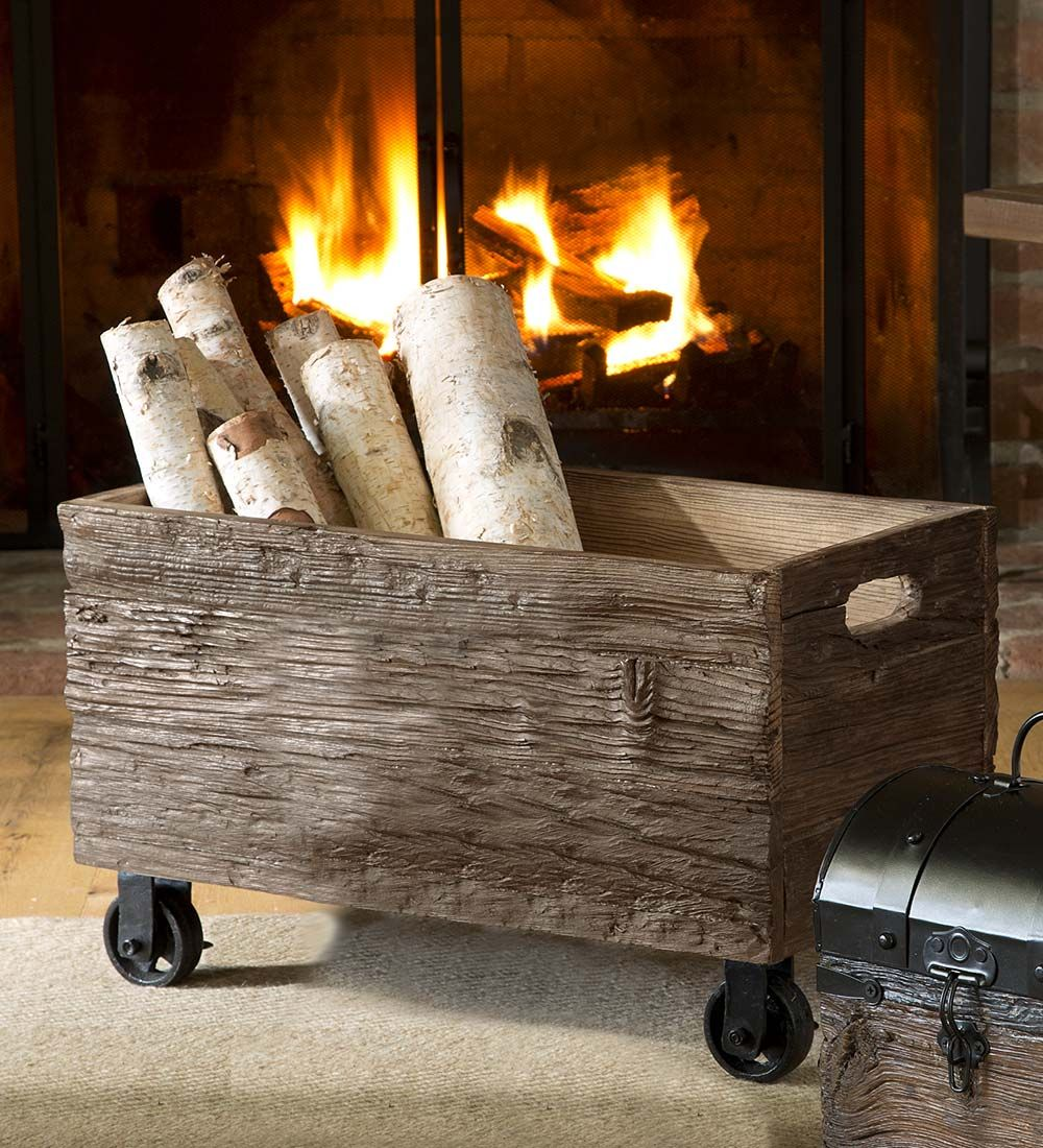Recycled Wooden Storage Box With Wheels Wood Storage Firewood Storage Indoor Rustic Storage Wooden Storage Boxes