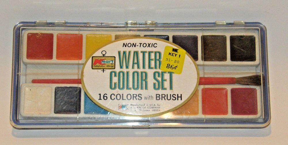 Vintage Kmart Kresge Dime Store 16 Colors W Brush Water Color Paint Set Unused Kmartsskresge Paint Set Paint Colors Watercolor Paintings