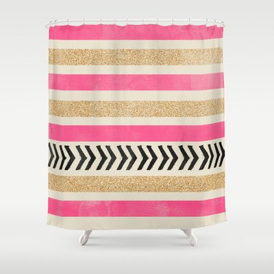 gold and pink shower curtain. PINK AND GOLD STRIPES ARROWS Shower Curtain by Allyson Johnson  68 00