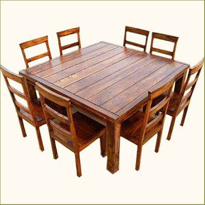 Rustic 9 Pc Square Dining Room Table U0026 8 Person Seat Chairs Set Furniture  NEW