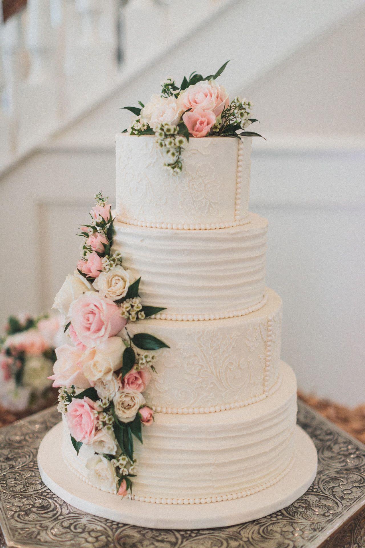 elegant wedding cake lace + pearl wedding cake blush