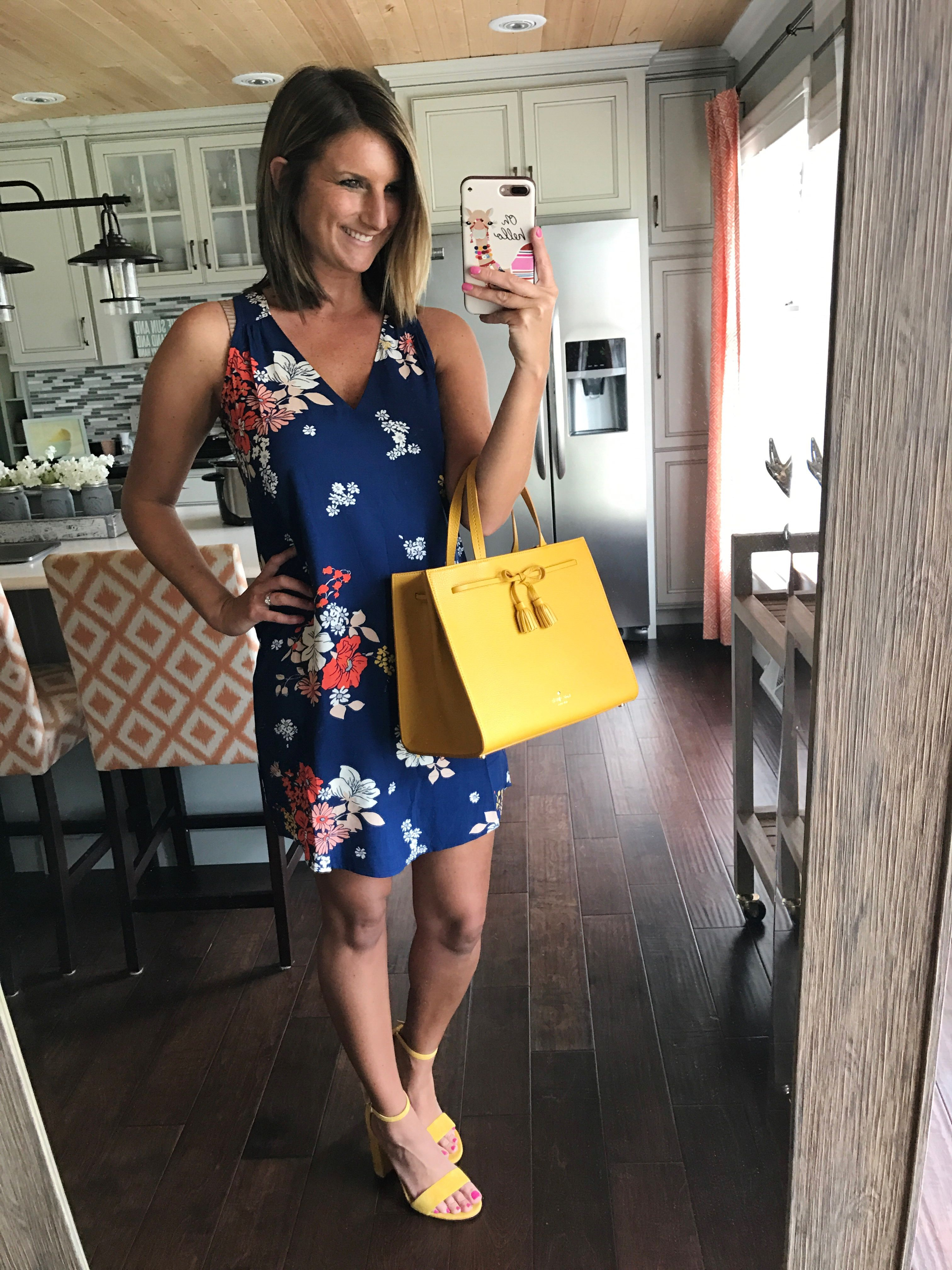 8a22afb67cc1 Old Navy floral shift dress for under  20 with yellow accessories for  spring and summer! Click on photo for direct links to shop!