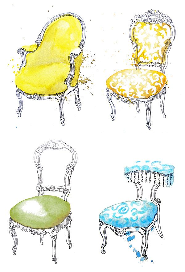 French Chairs On Behance Art Chair Chair Drawing French Chairs