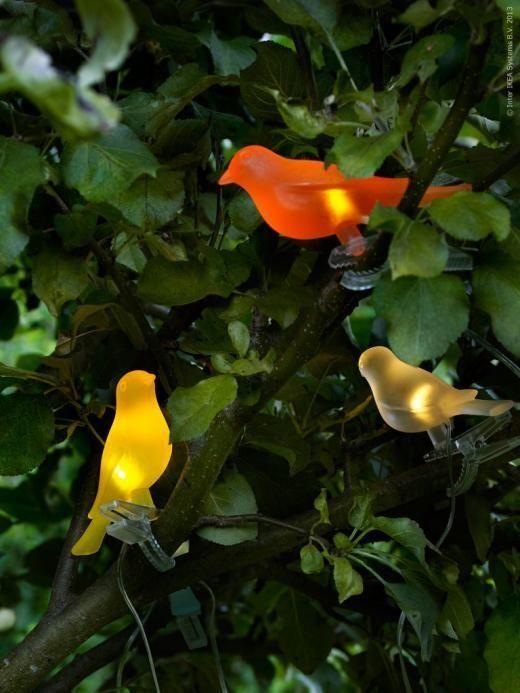 IKEA Solar SOLVINDEN Solar Powered Light Chain 5 Birds White Yellow Orange  Blue
