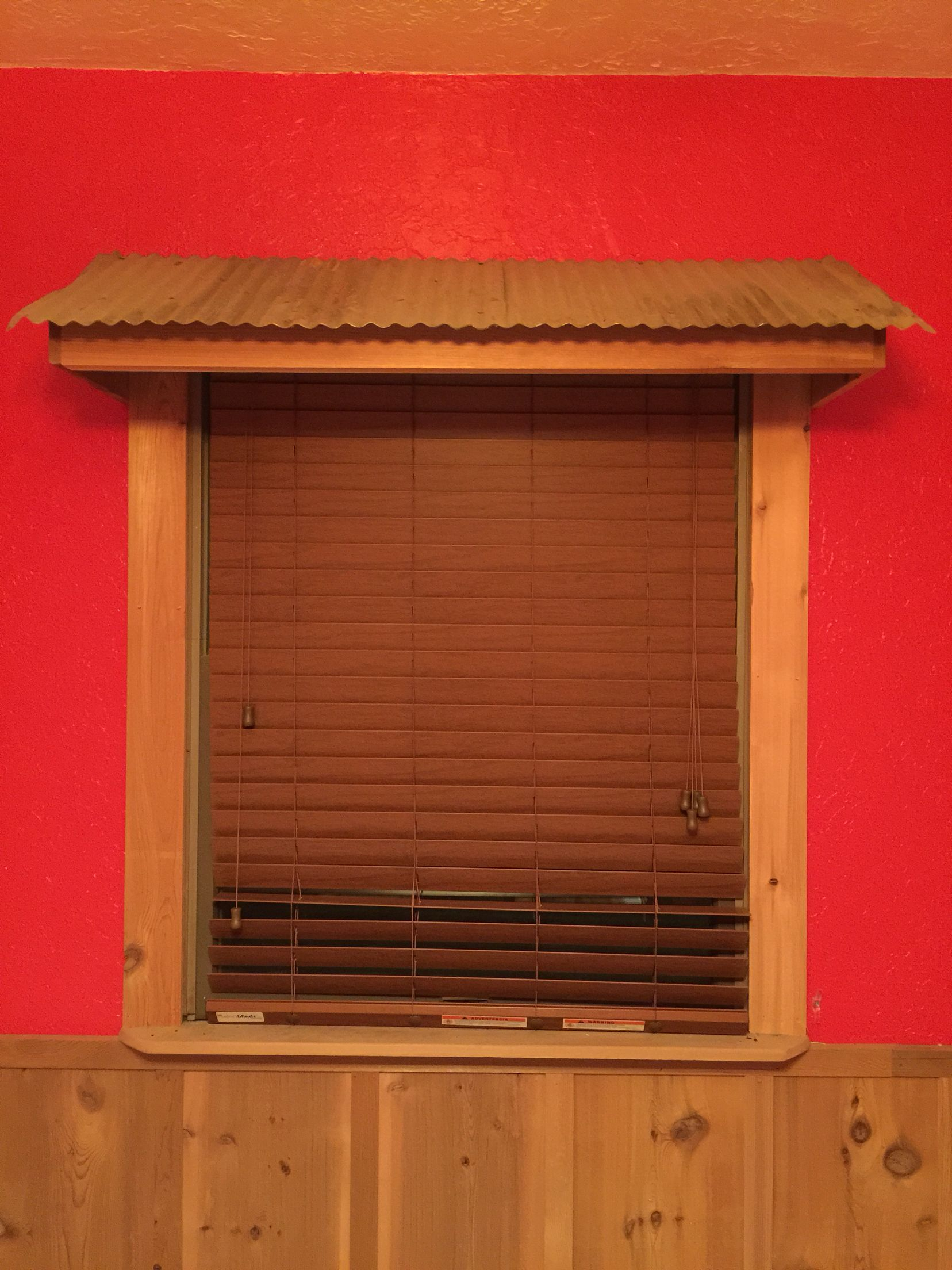 Tin Window Awning In Langston's Room | Rustic shutters ...