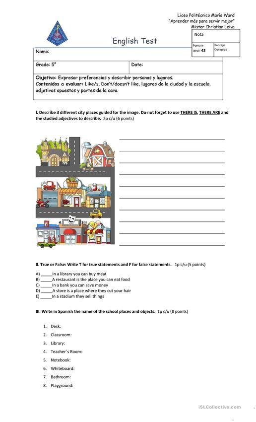 Test Unit 1 - 5° grade worksheet - Free ESL printable worksheets