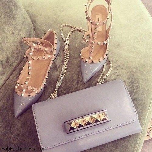 Love for Valentino pastel Rockstud pumps and handbag.
