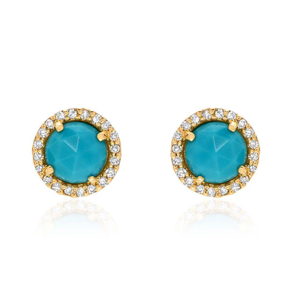 Rosie 5.0mm Turquoise & Diamond Post Earrings