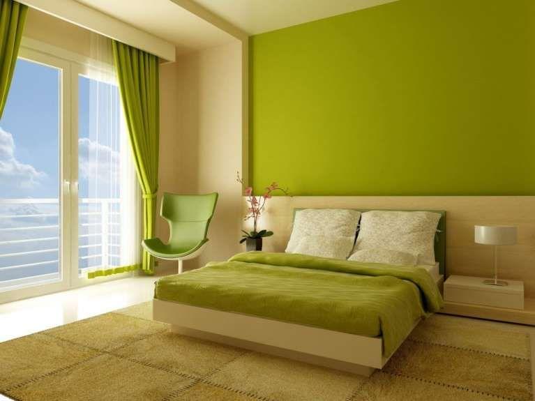 Verde acido in camera da letto un senso di freschezza viene subito evocato dalle pareti