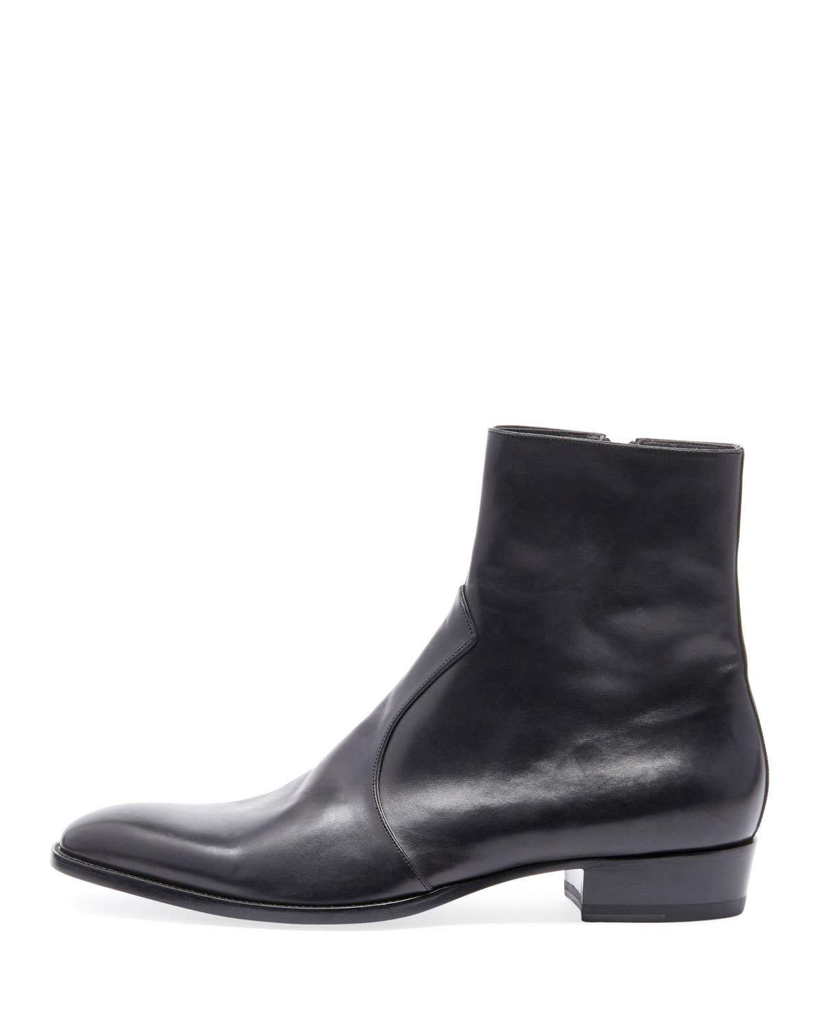 d8904abbc446 Saint Laurent Men s Wyatt 30 Side-Zip Leather Ankle Boots   Products ...