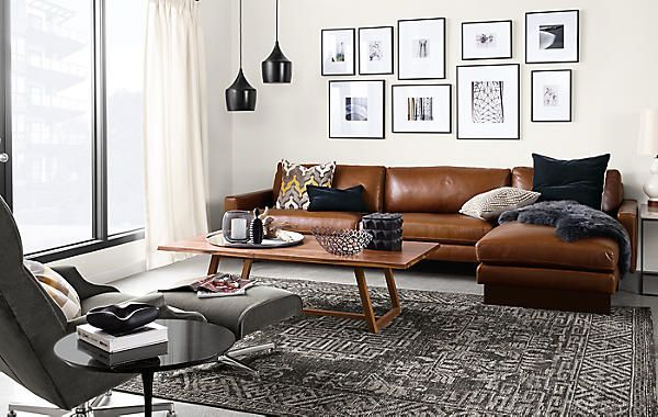 Hess Sofa With Chaise In Lecco Leather Modern Living Room Furniture Board