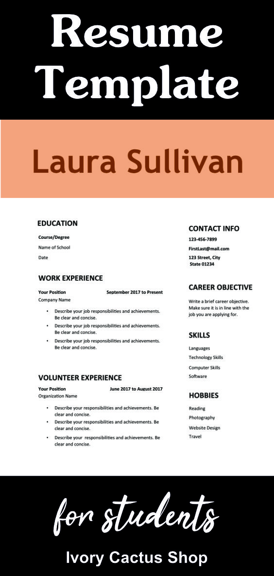 Resume Template Word, teens, simple, CV template, one page