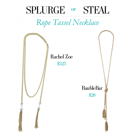 Indulge in Jazz Age style with a SPLURGE or STEAL - http://www.hithaonthego.com/splurge-steal-rope-tassel-necklace/