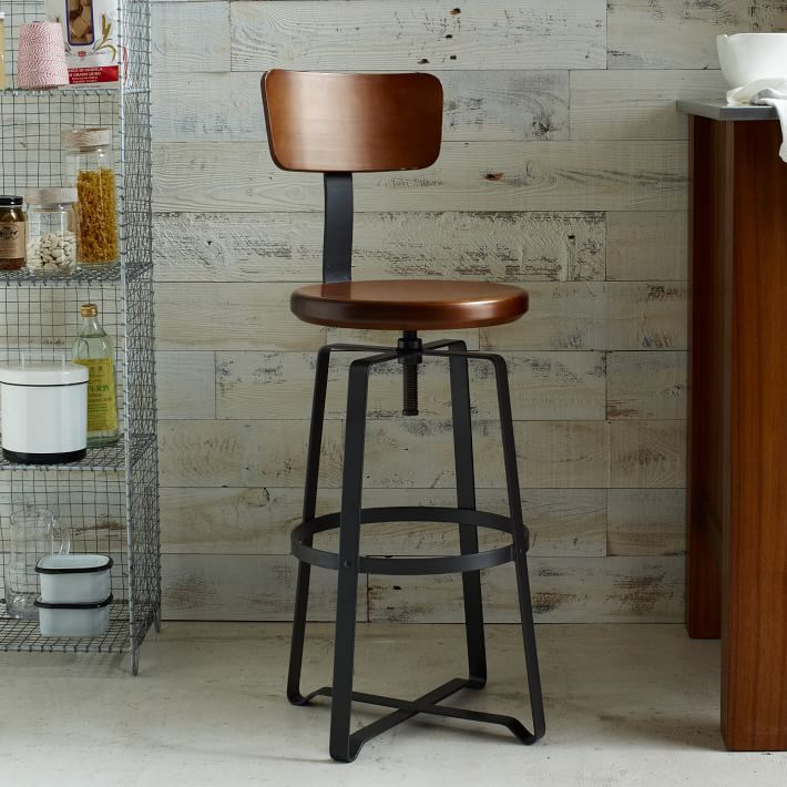 Delightful Adjustable Rustic Industrial Stool   With Back
