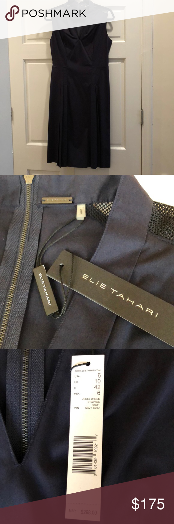 fb06348fbcde Eli's Tahari Dress. V-neck. Zippered back. 67% Cotton, 28% polyester, 5%  elastane. Elie Tahari Dresses