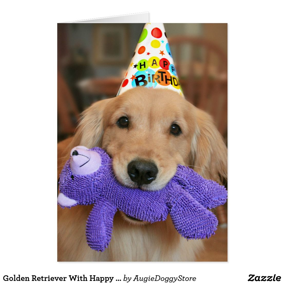 Golden Retriever With Happy Birthday Hat And Toy Card Zazzle Com