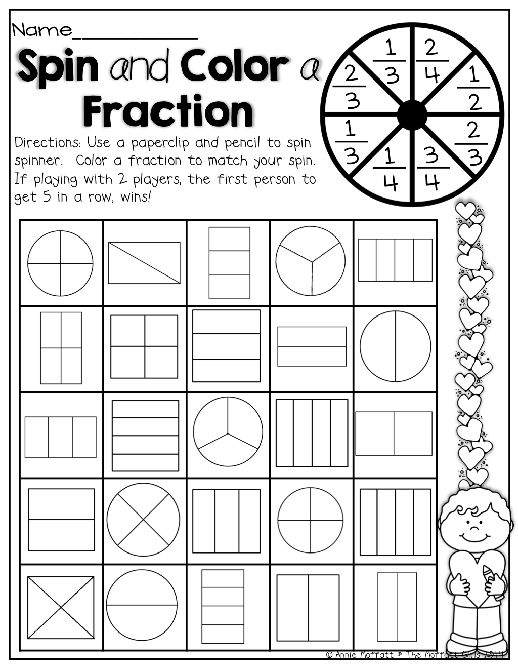 February NO PREP Packet (1st Grade) Math fractions, 2nd