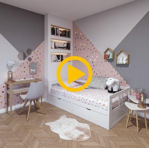 Zeitgenössisches rosa weißbeiges Holz Kinderzimmer