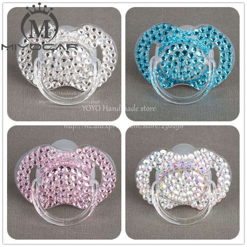 MIYOCAR Special price 4 color shining bling crystal rhinestone Baby Pacifier   Nipples  Dummy  cocka  chupeta  pacifier clips 7637afd3fe99