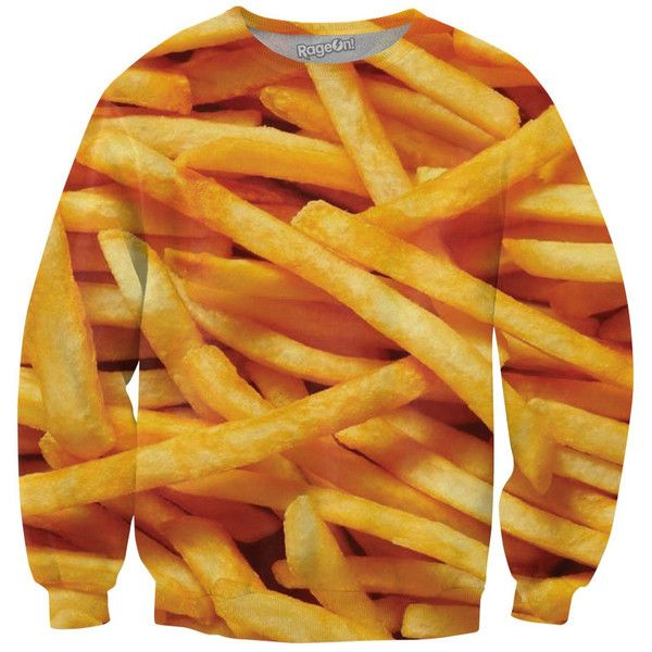 French Fries Crewneck Sweatshirt ($60) ❤ liked on Polyvore featuring tops, hoodies, sweatshirts, shirts, all-over print shirts, checked shirt, crew neck sweatshirts, crewneck sweatshirt and yellow top