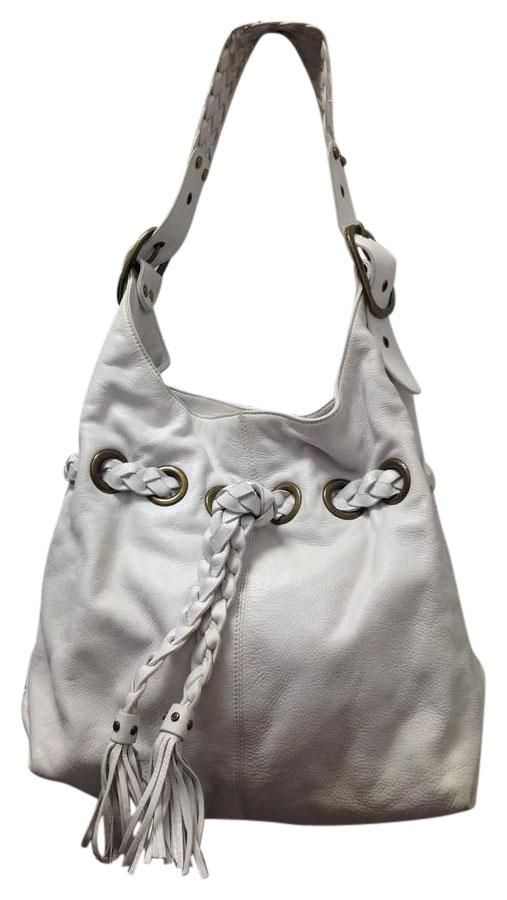 21a642f08a12 White Leather Large Hobo Shoulder Bag