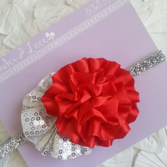 NEW Holiday 2013 Silver Sequin Flower on by LavenderandLaceBows, $7.95