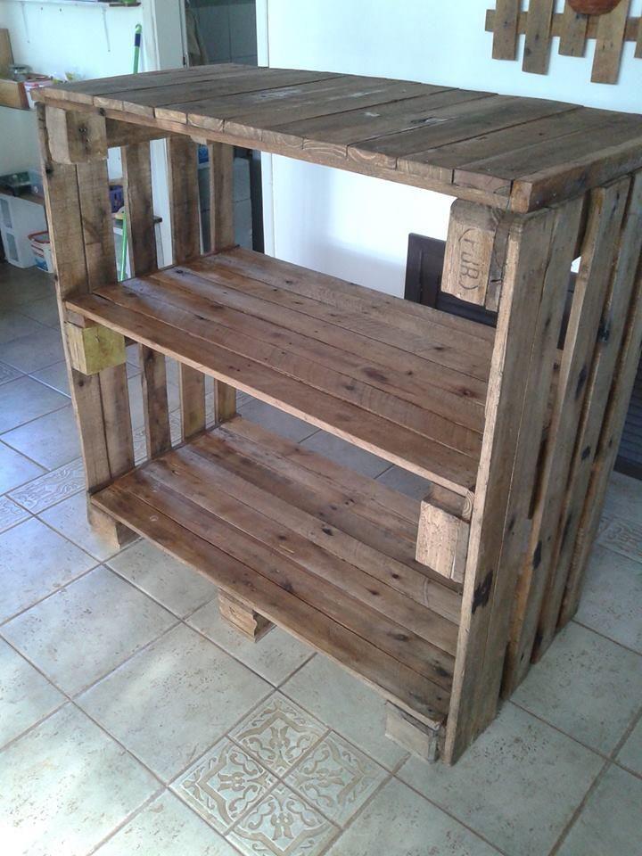 Pallet shelves unit pallet console table 101 pallet for Making storage shelves out of pallets