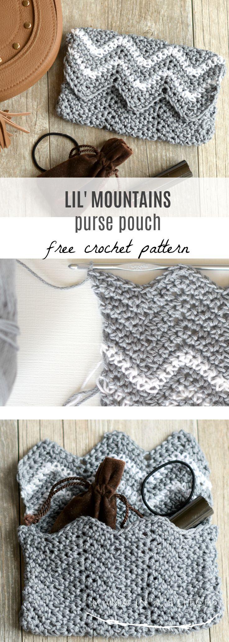 Lil\' Mountains Purse Pouch Crochet Pattern en 2018 | crochet bags ...