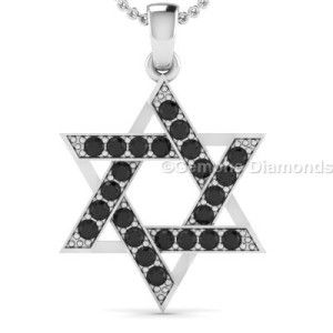 This is pretty natural black diamond jewish star pendant in 14k white gold 0.36 carat weight with  AAA quality natural black diamond comes in black rhodium set in 14k white gold. Centred with beautiful natural black diamonds and crafted with 14k white gold.