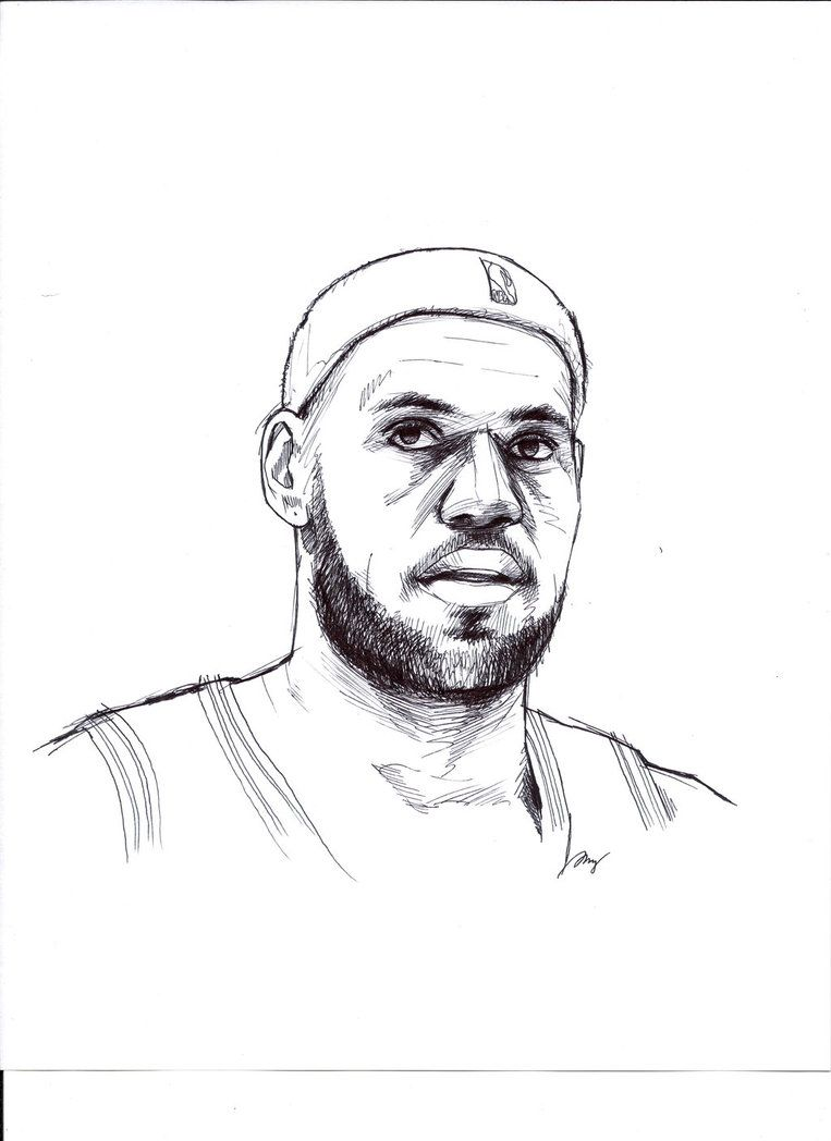 Lebron James Ball Drawing Basketball Drawings Lebron James Painting
