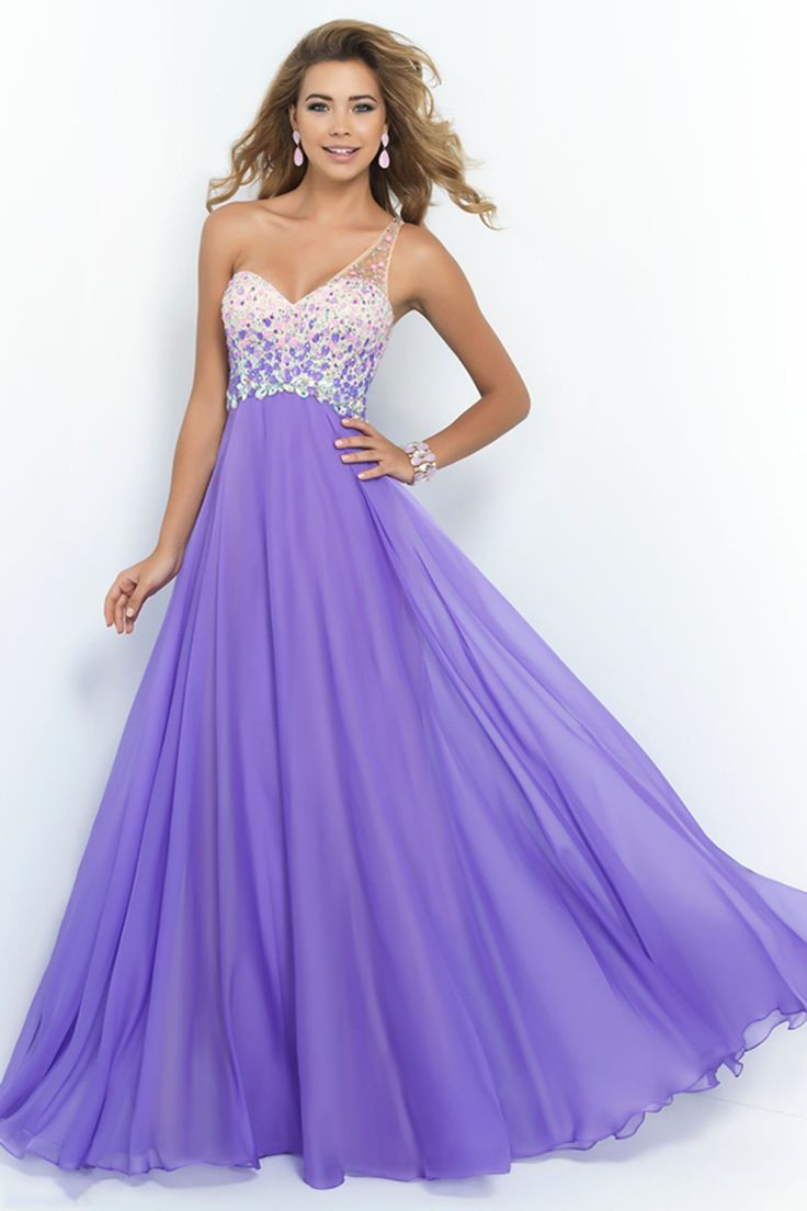 romantic prom dresses a line one shoulder with beadings tulle