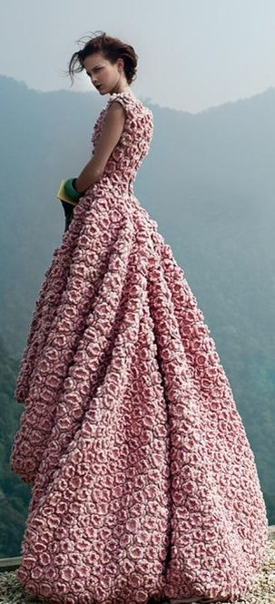 queen of narnia floreal pink long dress by #arseniclover <3