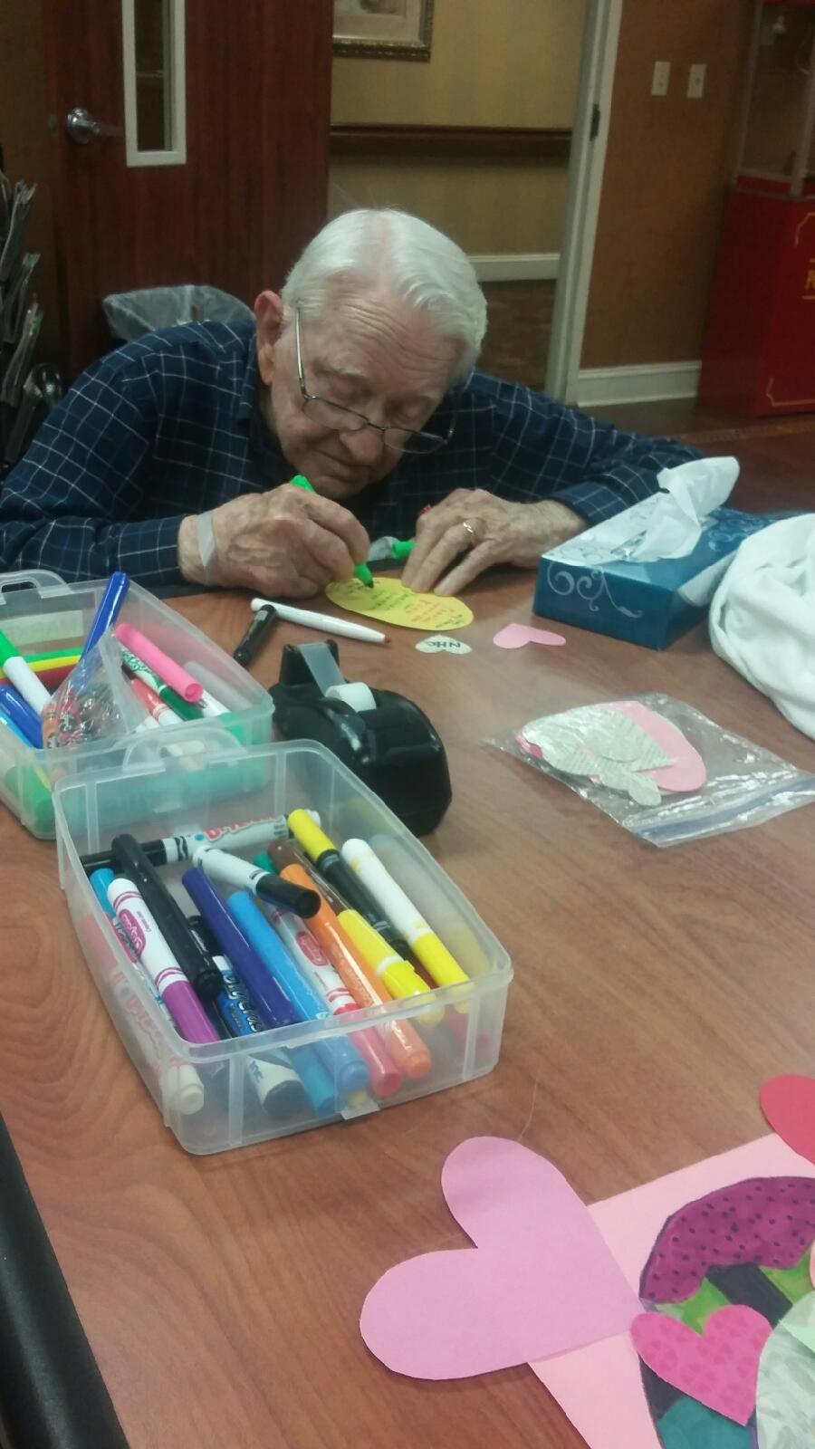 My yearold grandpa making a birthday card for my yearold