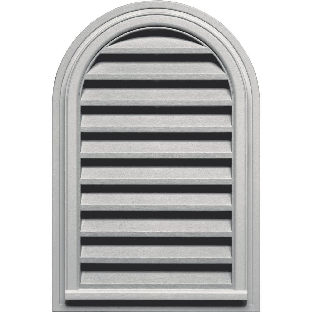 22 in. x 32 in. Round Top Gable Vent in Paintable, Gray