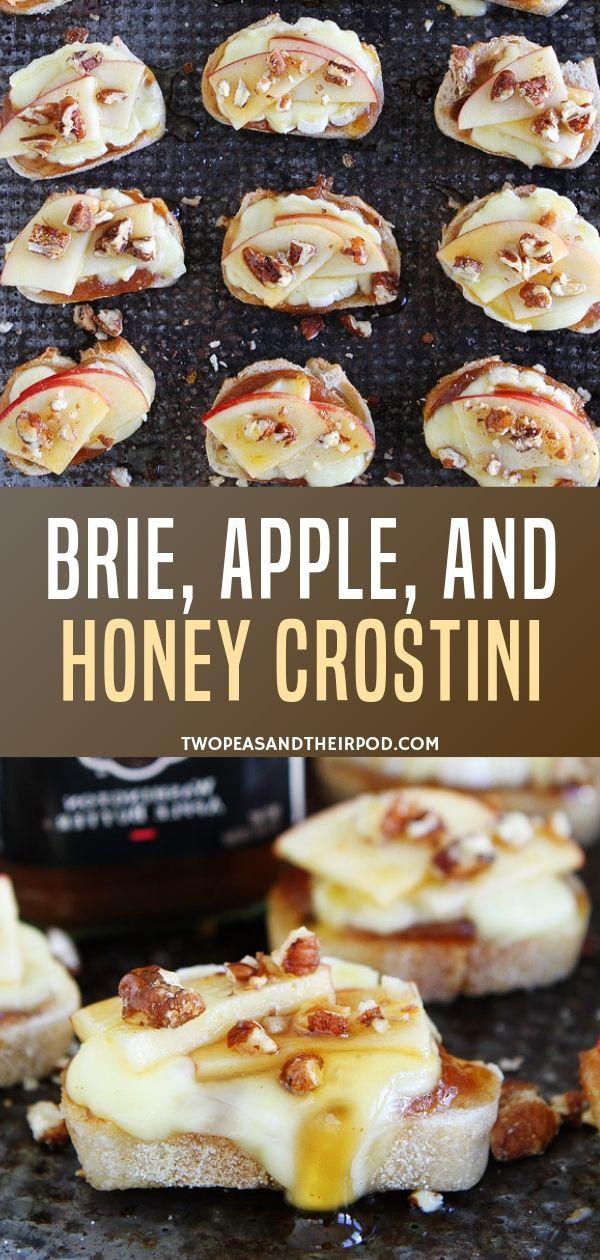 Brie, Apple, and Honey Crostini