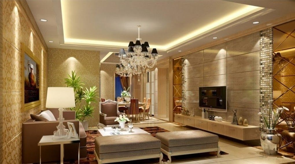 Luxury living room interior with pop ceiling and sofa sets for Room design pop