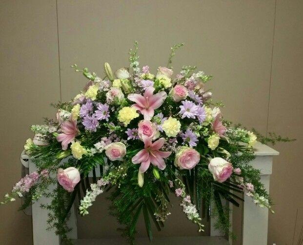 Spring Colored Casket Spray Designed At The Lumberton Flower Shop Funeral Floral Funeral Floral Arrangements Funeral Flowers