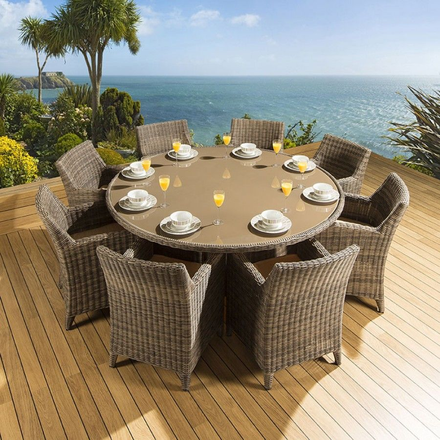 Rattan Garden/Outdoor Dining Set Round Table + 8 Chairs Mocha ...