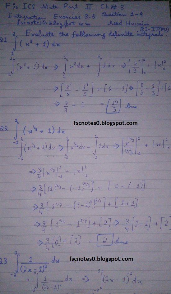 FSc ICS Notes Math Part 2 Chapter 3 Integration Exercise 3 6