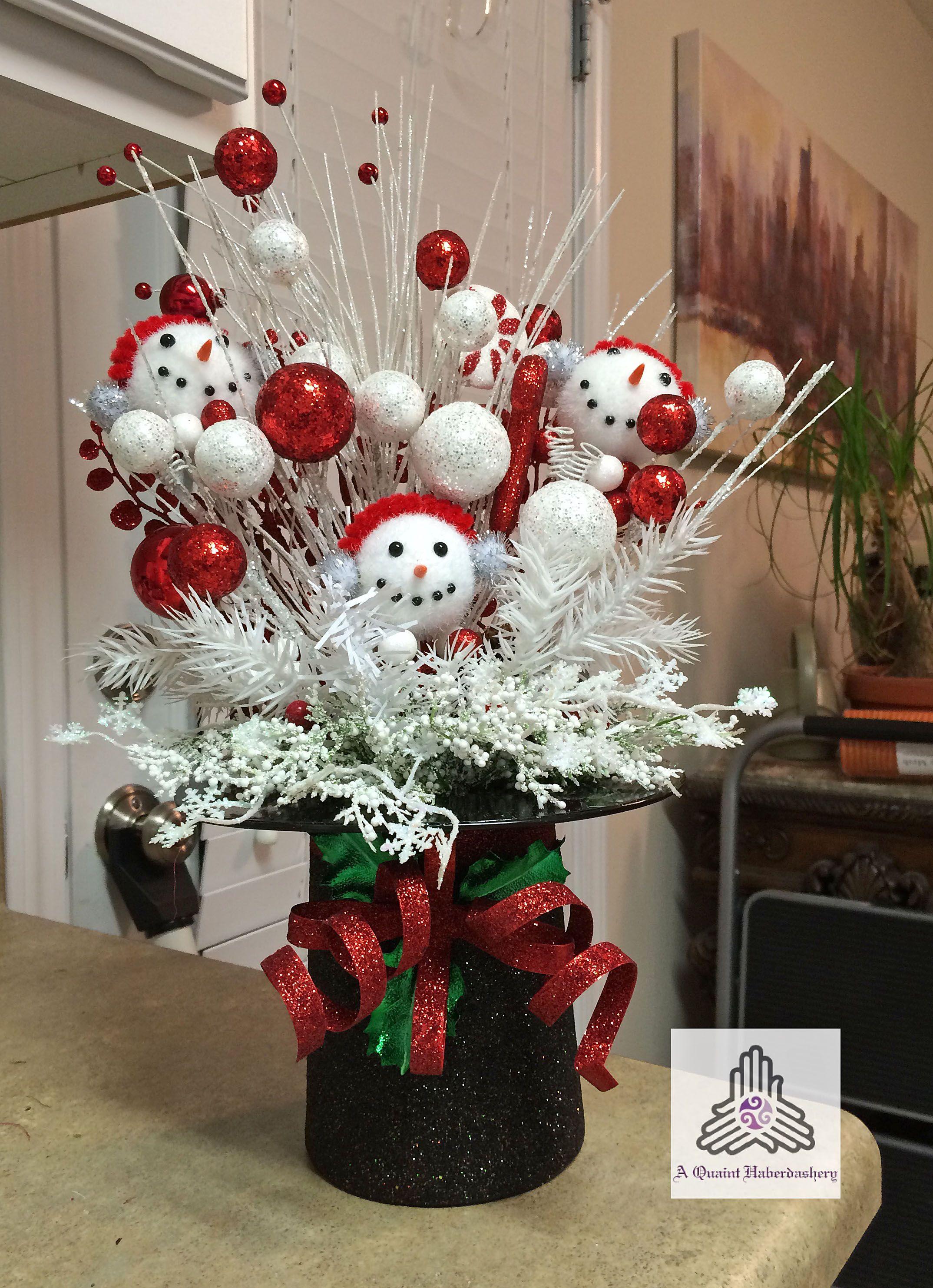 Christmas Ornaments Snowman Black Hat Centerpiece