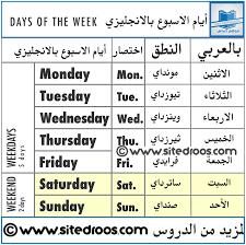ايام الاسبوع بالانجليزية والعربية بحث Google Day Thursday Monday